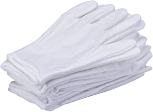 12Pcs/6 Pairs 8.27 Inches White Cotton Gloves Work Gloves One Size