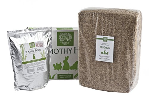 Small Pet Select Deluxe Combo Pack: Timothy Hay (10 Lb.), Rabbit Food (10 Lb.), Bedding (178L)