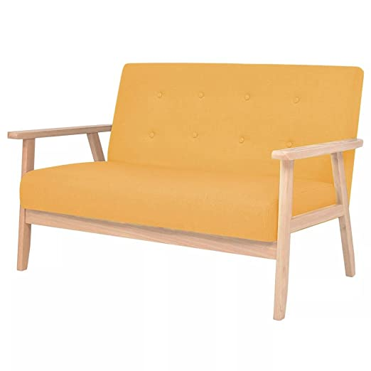 WEILANDEAL Sofa de 2 plazas de Tela Amarillo Sofas ...