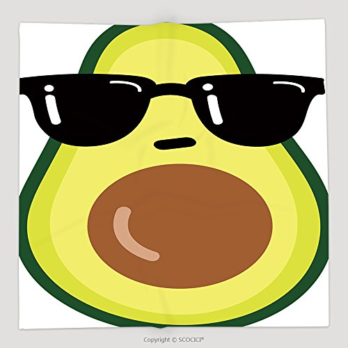 Custom Illustration Cartoon Funny Avocado Icon With Black Sunglasses Isolated On White Background Vector 458218111 Soft Fleece Throw - Quotes Sunglasses Instagram For