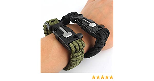 negro y verde rasqueta para aire libre SORA H/® Juego de dos pulseras de supervivencia con silbato cuerda mechero