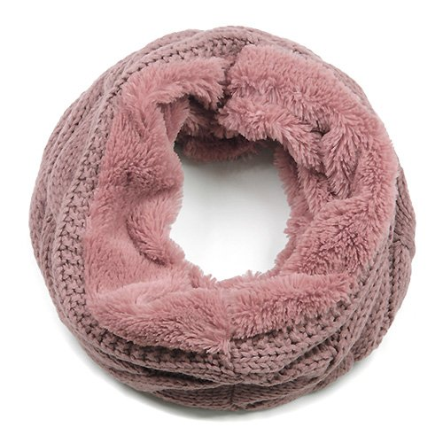 Aris Luxe Cozy Cable Knit & Faux Fur Infinity Scarf Bundle Scarf & Bag (Mauve Pink)