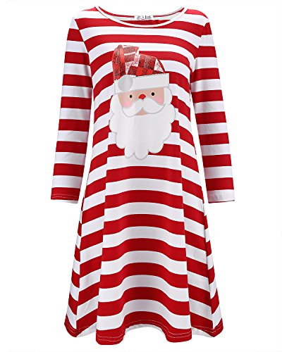 KILIG Women's Long Sleeve Christmas Santa Dress Stripe Casual Dress (Floral01,M) -