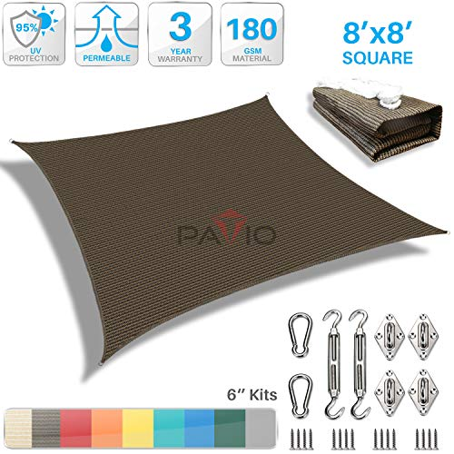 Patio Paradise 8 x 8 Sun Shade Sail with 6 inch Hardware Kit, Brown Square Canopy Durable Shade Fabric Outdoor UV Shelter Cover – 3 Year Warranty – Custom