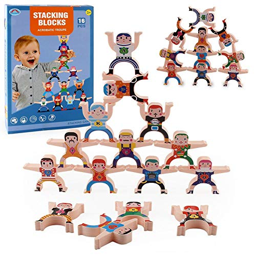 Wooden Stacking Game Hercules Blocks Acrobatic Troupe Interlock Balancing Blocks Games Toddler Educational Toys for 3 4 5 6 7 Years Old Kids 16 Pieces (Hercules)