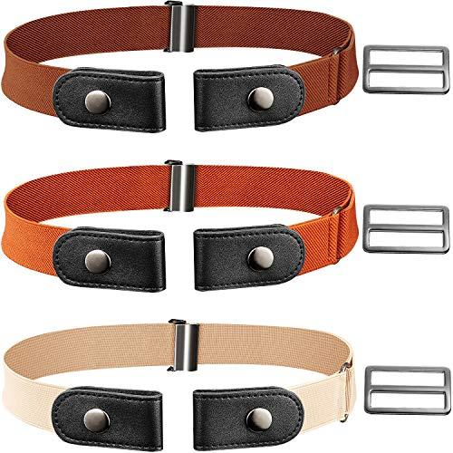 3 Piece No Buckle Belt Buckle-free Adjustable Belt with 3 Piece Buckle for Jeans (Brown, Umber, khaki) (Buckle Khaki)