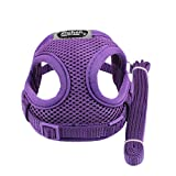 FimKaul Soft Mesh Adjustable Padded No-Pull Easy Walk Control for Puppy Dogs Small Pet Walking Chest Collar Strap Durable Outdoor Vest (Purple)