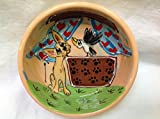 Chihuahua 10'' Dog Bowl for Food or Water. Personalized at no Charge. Signed by Artist, Debby Carman.