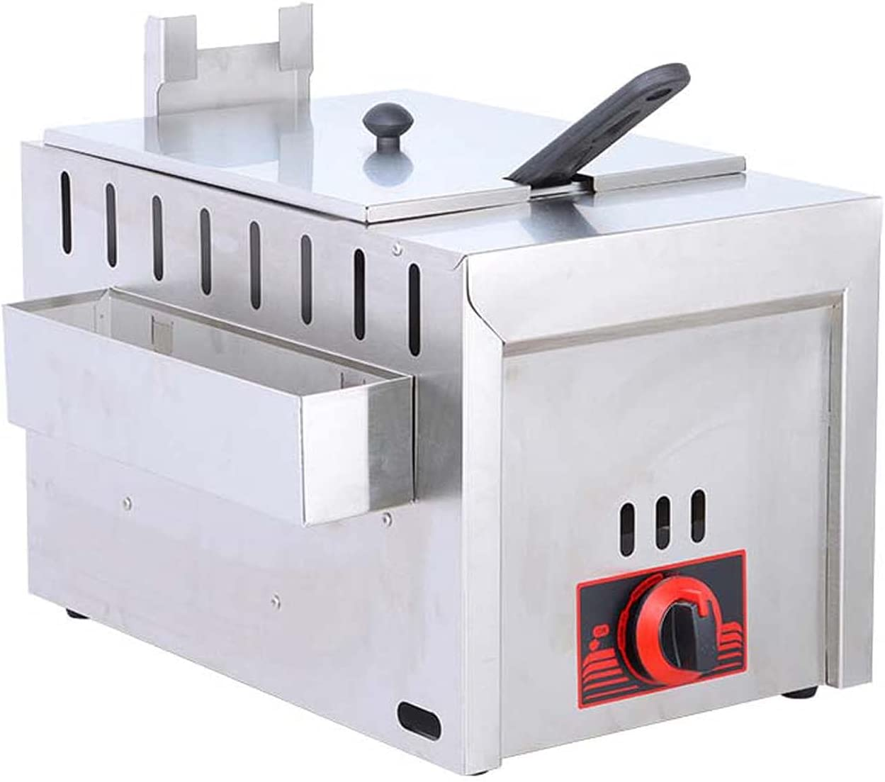 Wgwioo Commercial Countertop Gas Fryer W/Baskets, Stainless Steel Gas Deep Fryer, French Fries Fried Chicken Commercial Food Fry Pan
