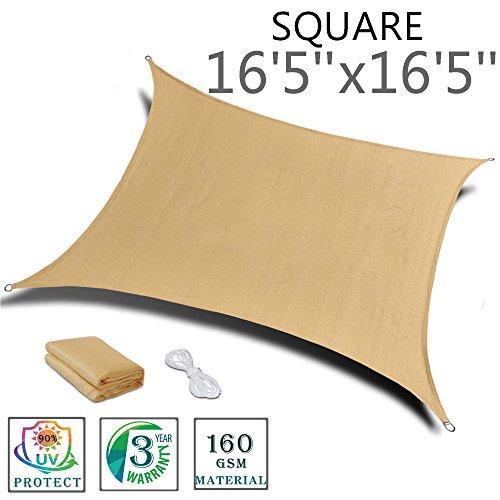 SUNNY GUARD 16'5''x 16'5'' Sand Square Sun Shade Sail UV Block for Outdoor Patio Garden by SUNNY GUARD