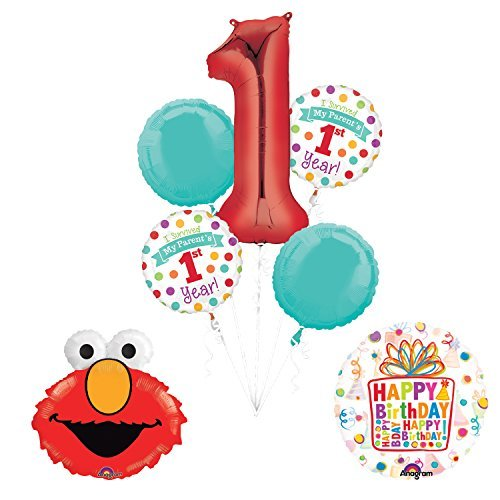 Mayflower Products Sesame Street Elmo I Survived My Parents First Year 1st Birthday Party Supplies and Balloon Decorations]()