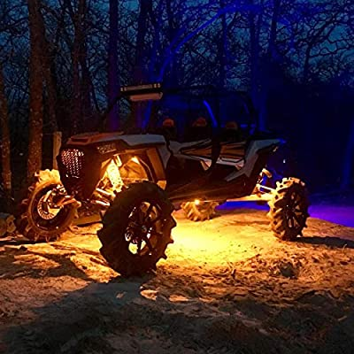 4 Pods LED Rock Light Kit for Jeep ATV SUV Offroad Car Truck Boat Underbody Glow Trail Rig Lamp Underglow LED Neon Lights Waterproof 12V 24V Yellow Orange (Amber): Automotive
