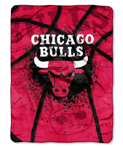 (Officially Licensed NBA Chicago Bulls Shadow Play Plush Raschel Throw Blanket, 60