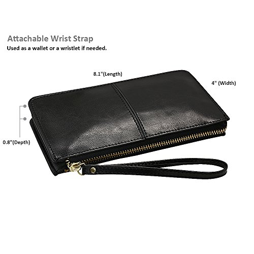 Wrist pocket 8 Strap Wristlet Card With Cute iPhone Soft 7 Tassels Cash Befen Exquisite Black Smartphone Wristlet Deer 6 Fit slots Wallet Clutch Plus fwqF8