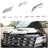3D Metal Letters Emblem Fit for Ford Explorer 2011-2019 Front Hood Emblem Letters Badge Decal (Not Decal Sticker), Silver