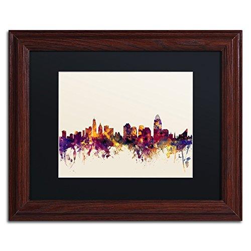 Cincinnati Ohio Skyline IV by Michael Tompsett in Black Matte and Wood Framed Artwork, 11 by (Cincinnati Ohio Usa Framed)
