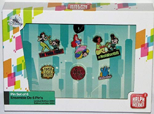 (Disney Vanellope and Princesses from Ralph Breaks the Internet Pin Set - Limited Edition)