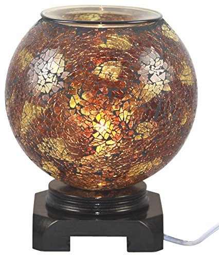 EcoScents Electric Aroma Lamp and Oil Burner with Dimmer Switch, Mosaic Glass Design, Earth -
