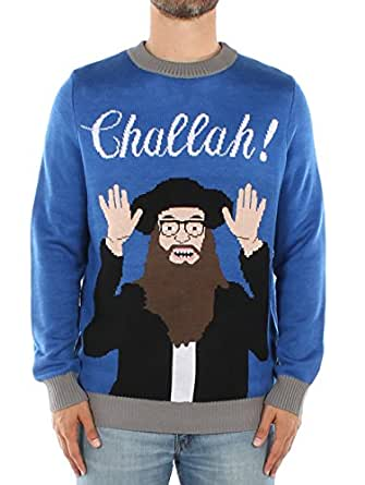 Men's Challah Hanukkah Sweater - Jewish Ugly Christmas Sweater: Medium