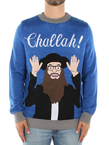 Tipsy Elves Men's Challah Hanukkah Sweater: Medium Blue -