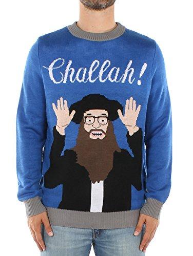 Tipsy Elves Men's Challah Hanukkah Sweater: Medium Blue
