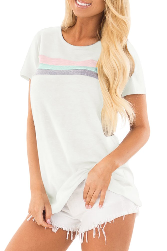 Spadehill Women's Cotton Striped Summer Short Sleeve Blouse Basic Loose Fit Color Block Shirts Top Oatmeal L
