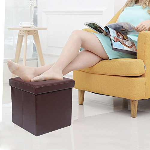 Amoiu 15 x 15 Folding Storage Ottoman Cube Foot Rest Stool Ottoman Faux Leather, Brown