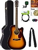 Fender CD-140SCE Dreadnought Acoustic-Electric Guitar - Sunburst Bundle with Hard Case, Tuner, Strap, Strings, Picks, Austin Bazaar Instructional DVD, and Polishing Cloth