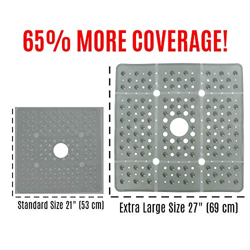 Stall Mat Shower (SlipX Solutions Extra Large Gray Square Shower Mat Provides 65% More Coverage & Non-Slip Traction (27