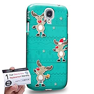Case88 [Samsung Galaxy S4] 3D impresa Carcasa/Funda dura para & Tarjeta de garantía - Art Navidad Classics Three Cute Deers