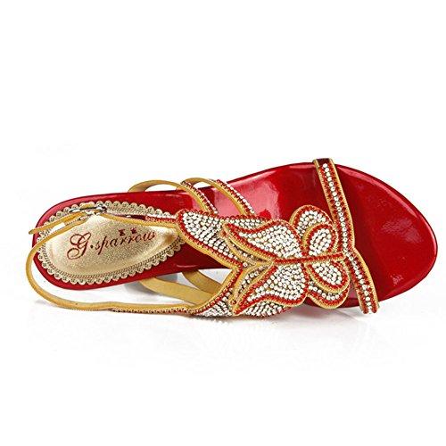 Taille Talons Sandales D'été Nouvelles Chaussures Mariage Hauts Cristal Sauvage Arc De Sexy Poinçonnage Eu40uk7 Grande Diamants Couleur Highxe Femmes À UwdqERR