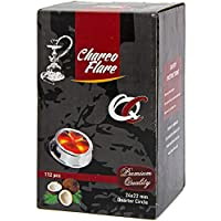 CHARCO FLARE QUARTER CIRCLE COCONUT CHARCOAL SUPPLIES FOR HOOKAHS–112pc Non-quick light shisha coals for hookah pipes. All-natural coal accessories & parts are Tasteless, Odorless, & Chemical-free
