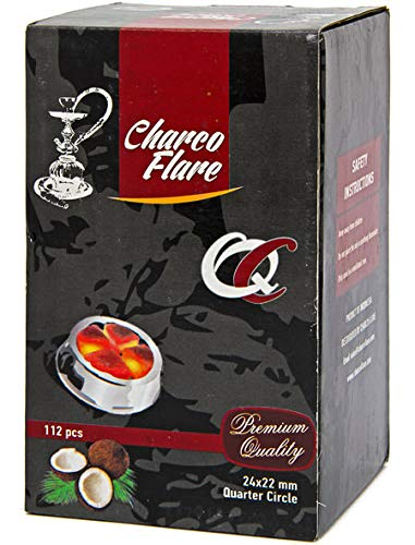 CHARCO FLARE QUARTER CIRCLE COCONUT CHARCOAL SUPPLIES FOR HOOKAHS-112pc Non-quick light shisha coals for hookah pipes. All-natural coal accessories & parts are Tasteless, Odorless, & Chemical-free
