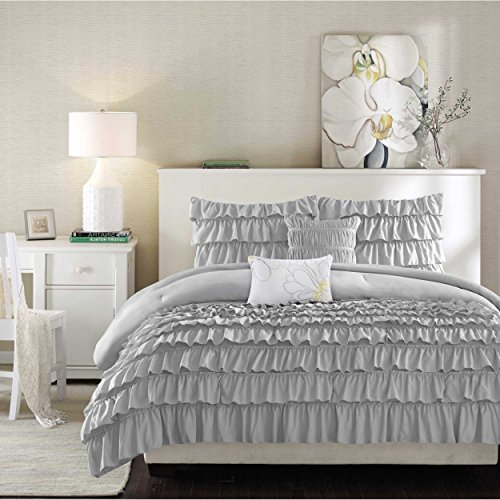 5 Piece Silver Grey Gypsy Ruffled Comforter Full Queen Set, Light Gray Bohemian Flowing Ruffles Pattern Layered Overlapping Gypsies Hippie Themed, Hippy Layers Adult Bedding Master Bedroom - Comforter Set Gypsy