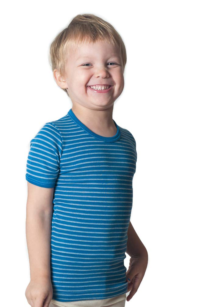 Hocosa of Switzerland Big Kids Organic Wool Short-Sleeved Undershirt, Blue/White Stripe, s.164/14 yr by Hocosa of Switzerland