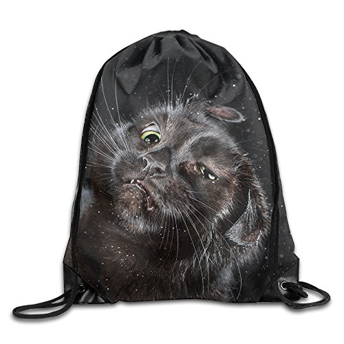 Funny Cat Durable Christmas Beam Backpack Drawstring Travelling Bundle Pocket Canvas Storage (Halloween Web Eyeliner)