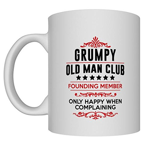 Grumpy Old Man Club 11oz White Coffee and Tea Mug Perfect for Birthday, Men, Present for Him, Dad, Husband and Grandpa (Birthday Present For Grandpa)