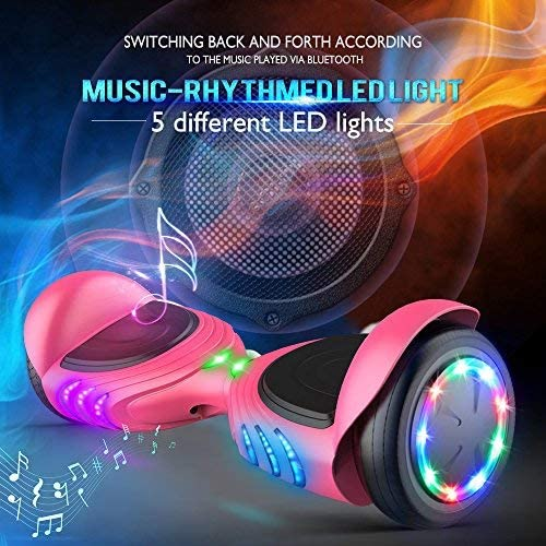 TOMOLOO Hoverboard with Bluetooth Speaker and LED Lights Self-Balancing Scooter Pink - 1