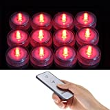 SLBSTORES 12x LED Submersible Tea light Tealight Candles with Remote Control Replaceable Coin Battery Underwater Waterproof Lamp for Christmas Birthday Wedding Party Occasion Use (Red)