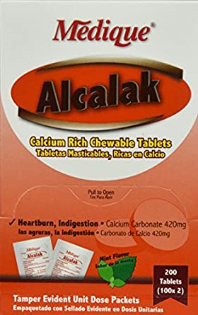 10147 Antacid Alcalak Tablets 420mg 100X2 Per Box by Medique Pharmaceuticals -Part no. 10147