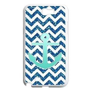 QSWHXN Diy Phone Case Blue Chevron Anchor Pattern Hard Case For Samsung Galaxy Note 2 N7100