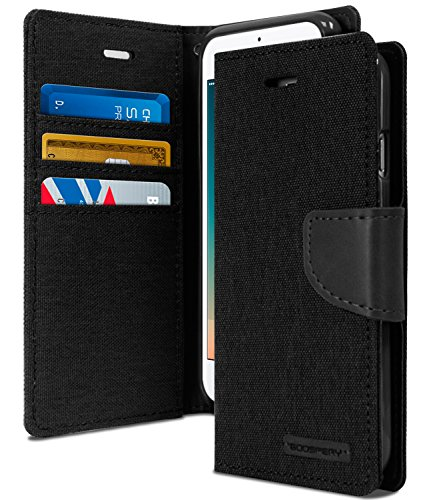 Goospery Canvas Wallet for Apple iPhone 8 Case (2017) iPhone 7 Case (2016) Denim Stand Flip Cover (Black) IP7-CAN-BLK Blk Leather Like Cover