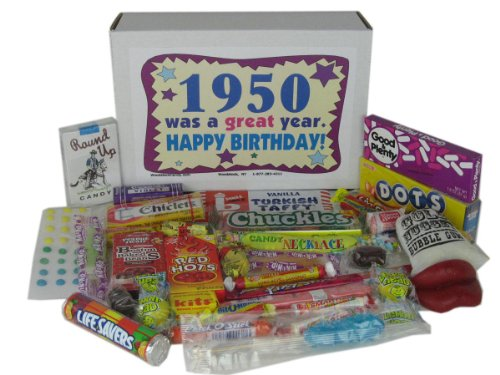 Woodstock Candy 68th Birthday Gift Box of Nostalgic Retro Candy from Childhood for a 68 Year Old Man or Woman Born in 1950 - '50s Jr