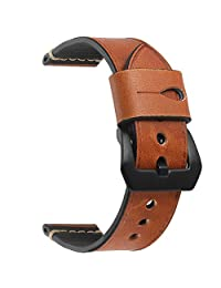EACHE 20mm 22mm 24mm Oil-tanned/Crazy Horse/Vegetable-tanned Leather Replacement Watch Band Wrist Straps (22mm, Light Brown)