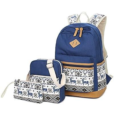 2ea09629b5 Wentsven Cute Deer Canvas Book Bags School Backpack Set best ...