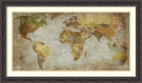 Amanti Art Framed Art Print 'Anima Mundi Map' by Joannoo: Outer Size x x, 43 x 25'' by Amanti Art