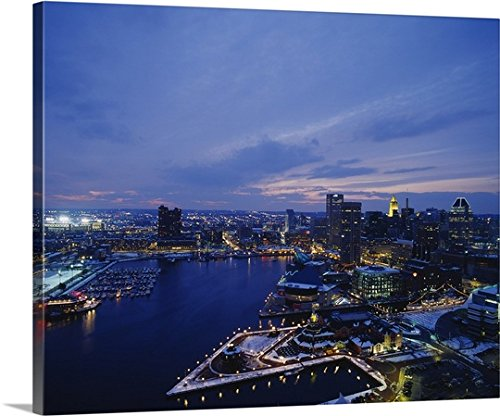great-big-canvas-gallery-wrapped-canvas-entitled-high-angle-view-of-a-city-lit-up-at-dusk-baltimore-