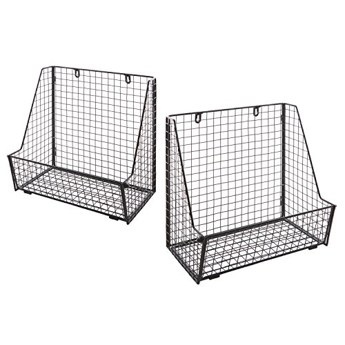 Set of 2 Metal Wire Wall Mounted Hanging Towel Basket, Freestanding Magazine File Organizer Rack