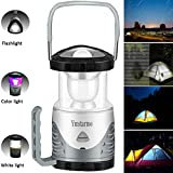 Outdoor LED Camping Lantern Bright Flashlight Collapsible Camping Lamp ,AAA Battery Compartment and USB Charging Cable,Camping Equipment Gear Survival Kit for Emergency, Power Outage (Gray)