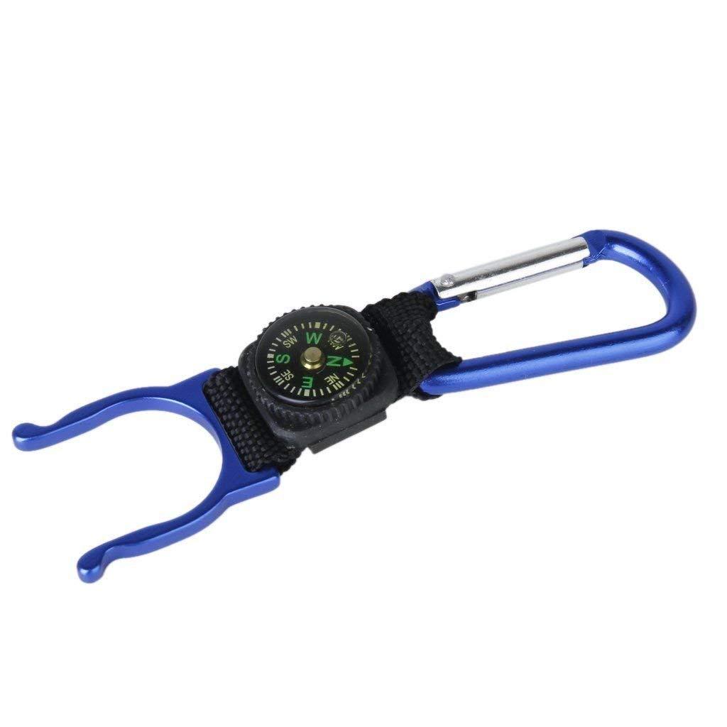 BloomGrün Co. Blau Karabiner Wasserflaschenhalter Camping Wandern Kompass J4Y7